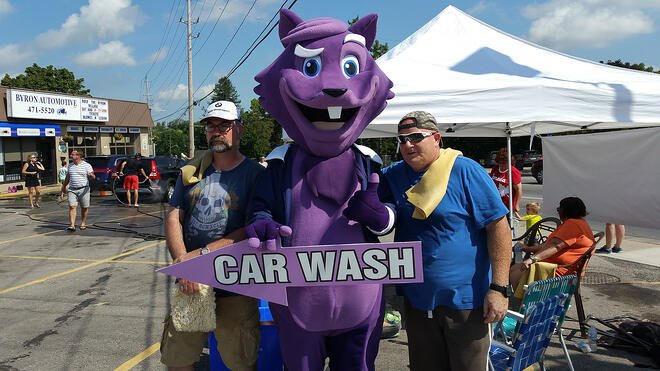 The Purple Squirrel at the Parkinson's Charity Car Wash
