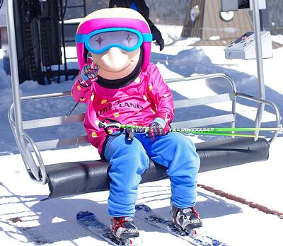 Loveland skier Mascot out on the slopes