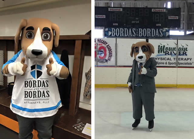 Justice Mascot Attends Sports Events - Buy A Custom Mascot Like this one.