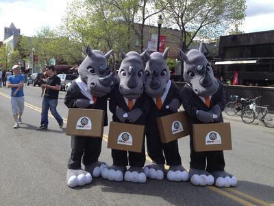 Rhino Realty Mascots At Lilac Festival