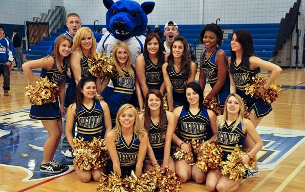 NCCC Custom Made Thunderwolf Mascot with cheerleaders