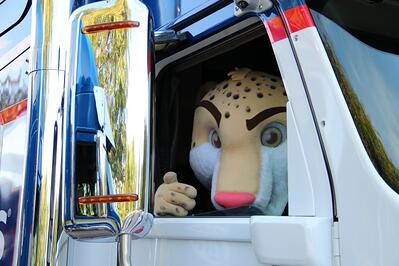 Chicagoland Dash Mascot Ready for a Truck Ride