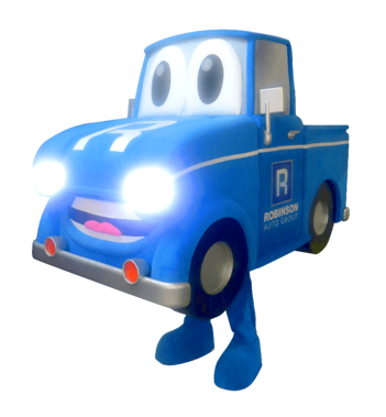 Robinson Auto Group, added headlights and car horn sounds to their truck mascot