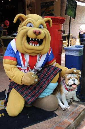 Winston the Bulldog mascot posing with a dog