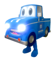 Mascot costume with Truck lights on