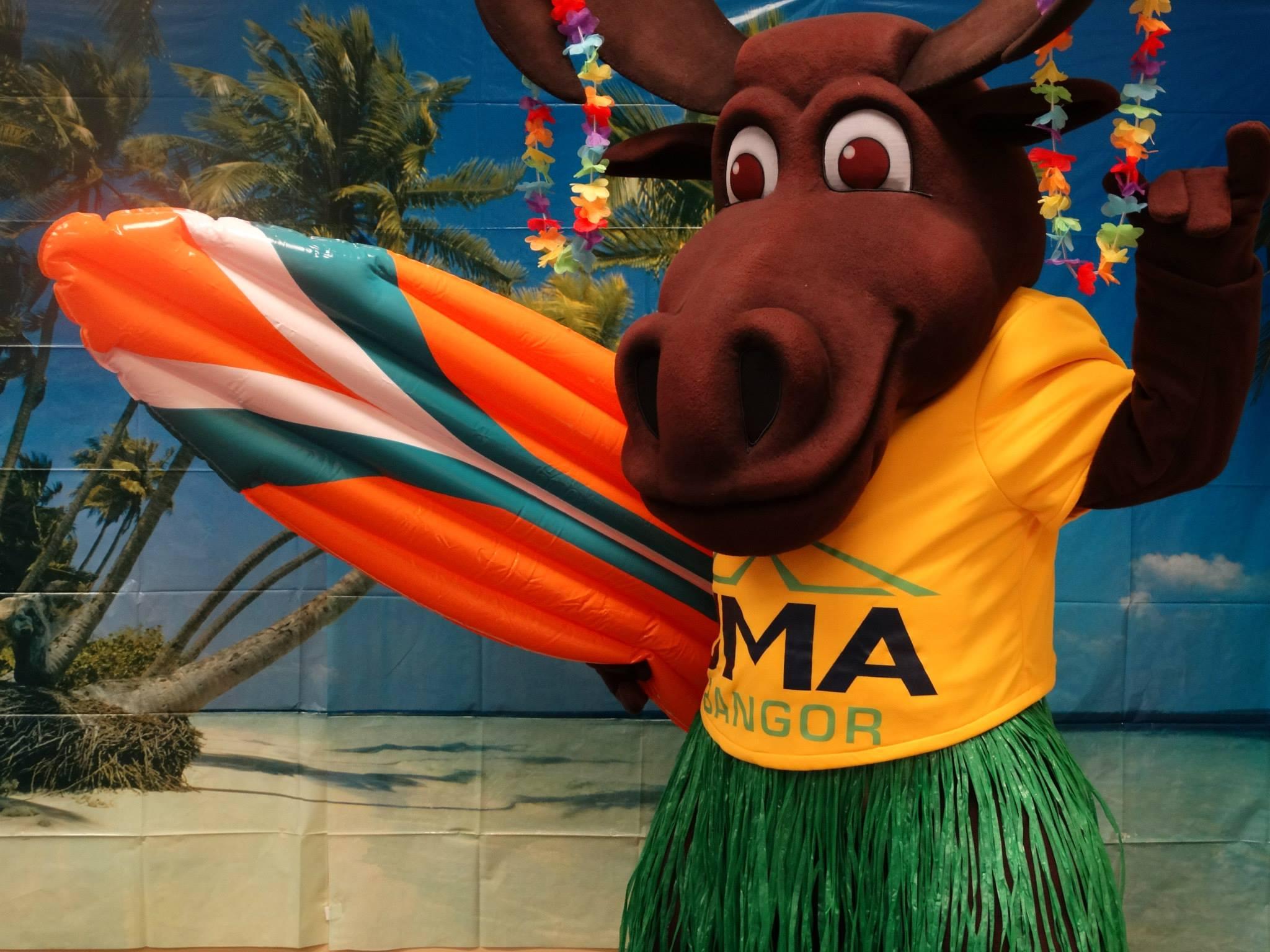 University of Main Augusta Moose Mascot at Hawaiian Themed Day